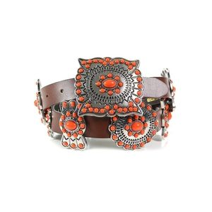 Shyanne Concho Brown Leather Belt Buckle Stud